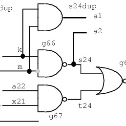 Initial circuit characterized by an undetected fault on