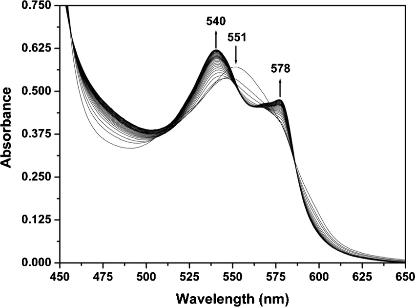 A typical spectrum of conversion of deoxy-myoglobin (Mb