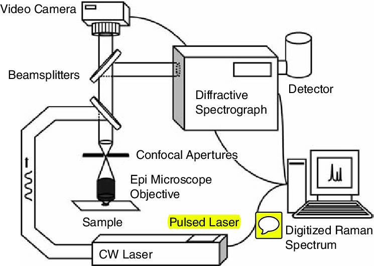 11 Scheme of a Raman microscope. A laser light source