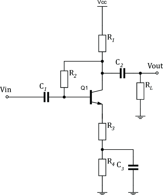 Baseband amplifier (BBAMP) configured as a common-emitter