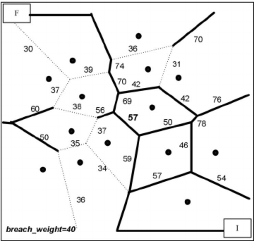 Weighted Voronoi diagram of the sensor network in Fig. 2
