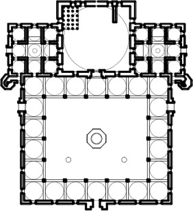 Earring dome courtyard layout; Sultan Bayezid Mosque