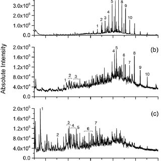Py-GC-MS chromatogram of compounds desorbed at 300 °C from