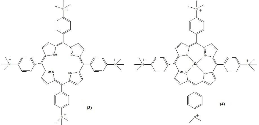 Chemical structure of cationic photo-sensitizers used in
