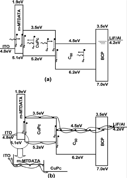 The schematic energy level diagrams of the bilayer