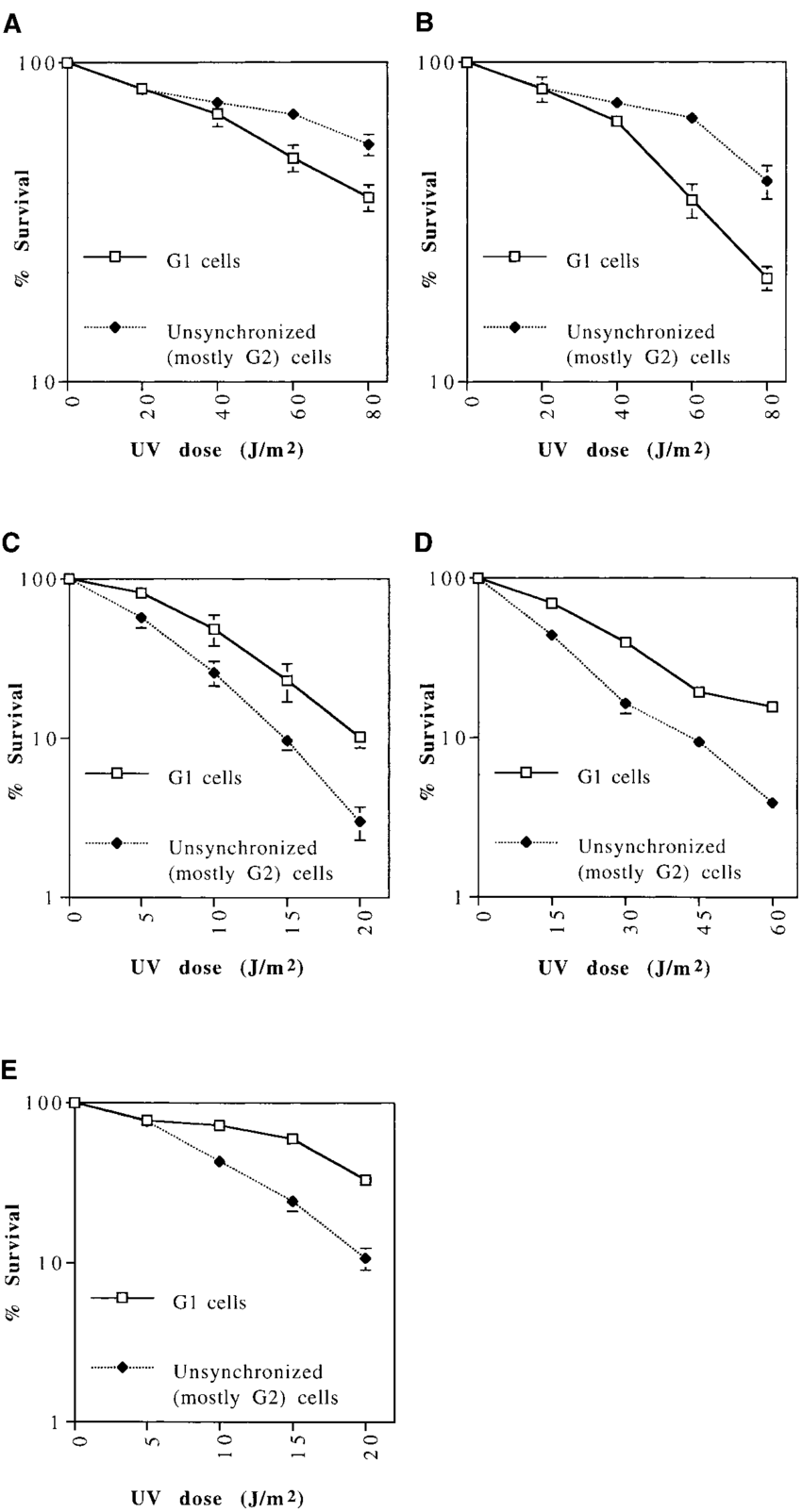 hight resolution of uv sensitivity of cells synchronized in g 1 compared to unsynchronized mostly g 2 png
