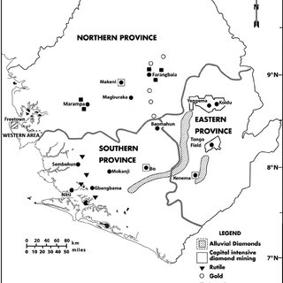 Sierra Leone Provinces highlighting principal diamond