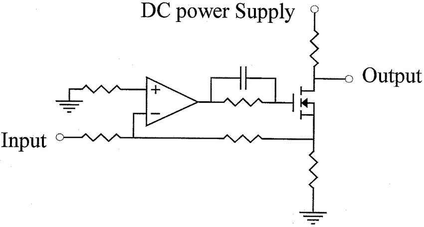 Schematic diagram of (a) ac amplifier and (b) transistor