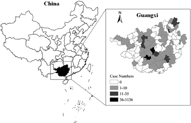 Malaria in Guangxi Province, China, in 2013. The map was