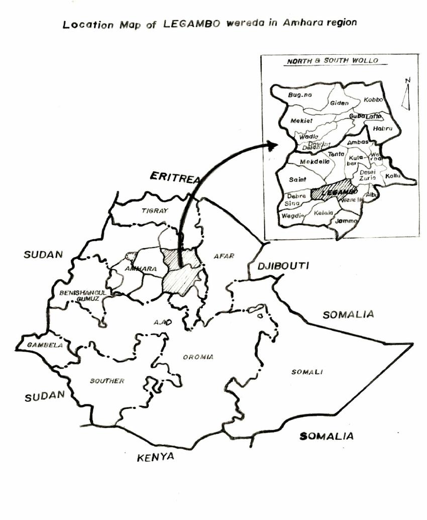Location map of LEGAMBO Wereda in Amhara region on