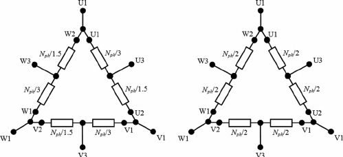 Diagram of the star-connected tapped winding with two per