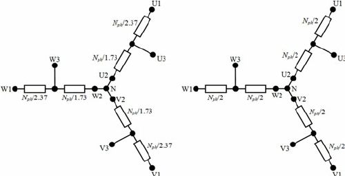 Diagram of the delta-connected tapped winding with three