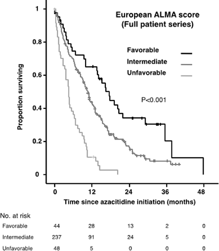 Overall survival by European ALMA Score. Full patient