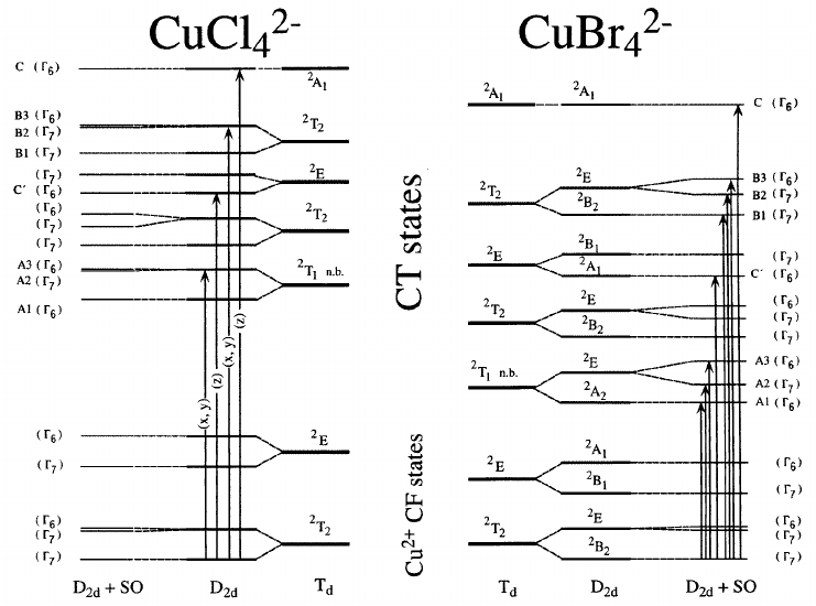 Schematic state diagram corresponding to the CuCl 2 4