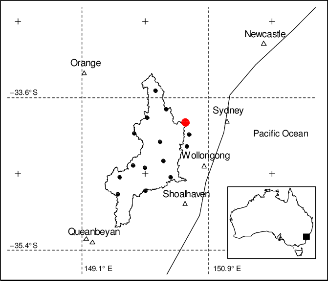 Warragamba Catchment boundary and meteorological stations