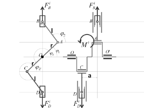 Kinematic diagram of an engine in line with two opposed