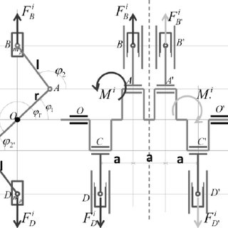 Kinematic diagram of an vertical engine with six cylinders