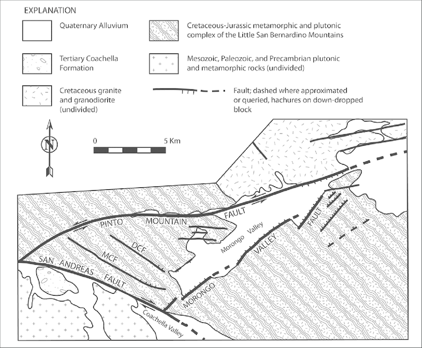 Generalized Geologic Map of the Morongo Valley Block. DCF