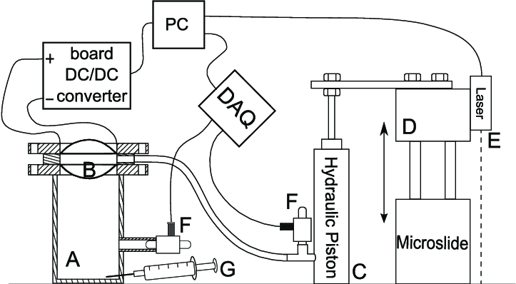 Experimental setup: rigid cylindrical chamber, (A