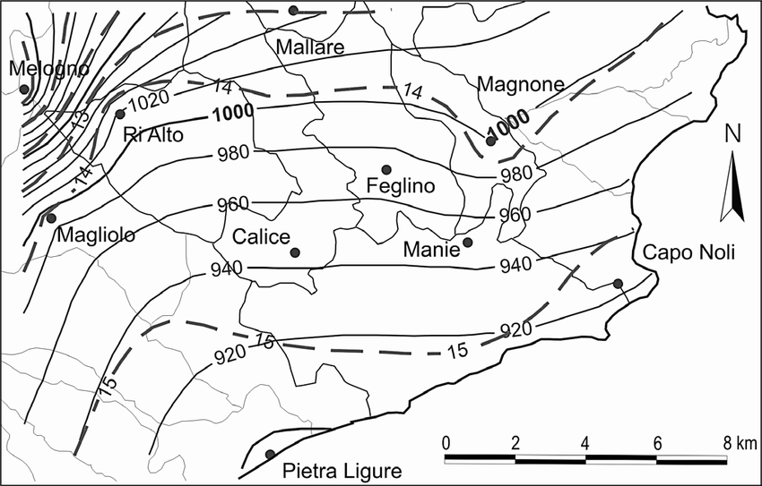 -Isohyet and isotherm map of Finalese and surrounding area