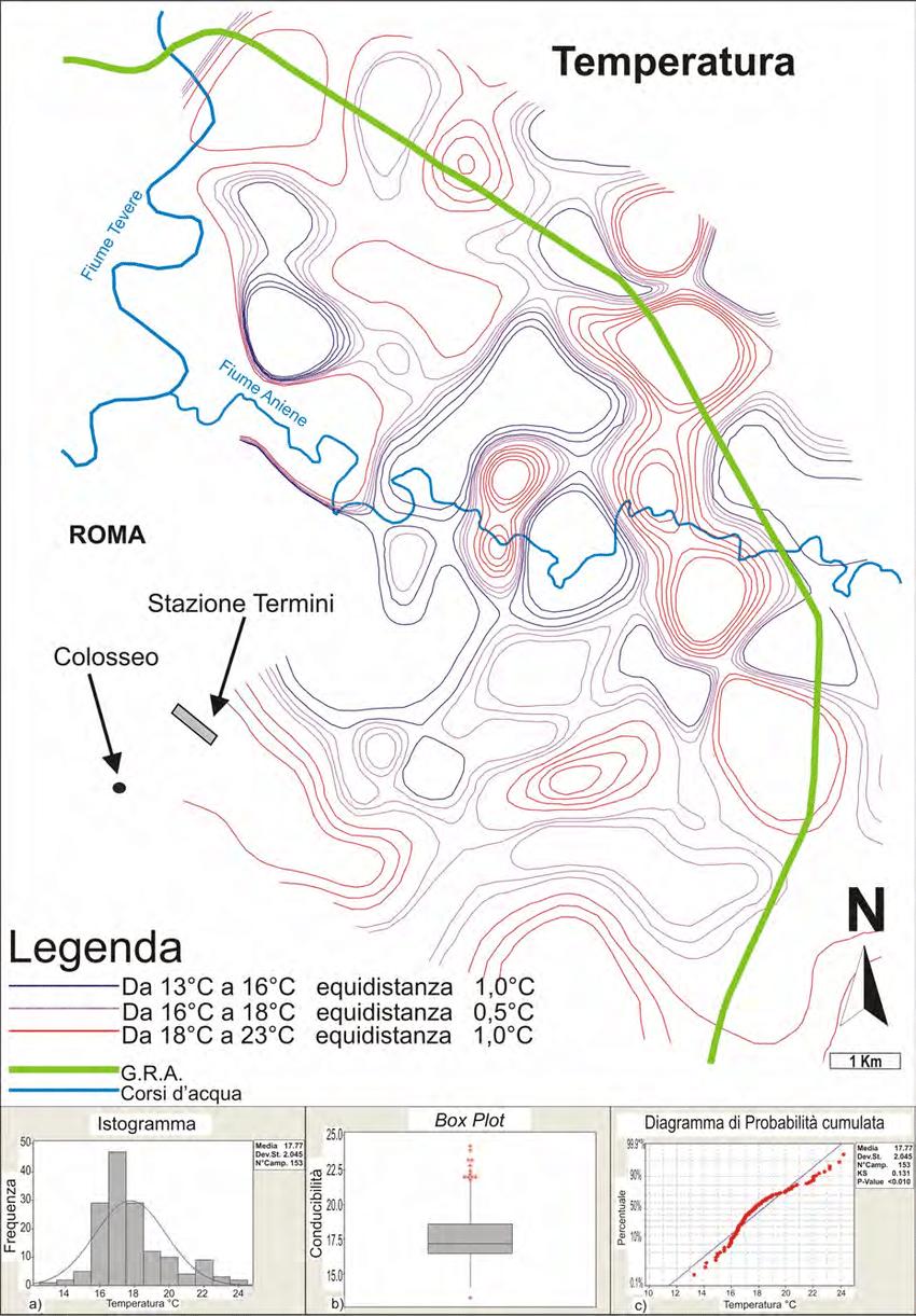 medium resolution of carta semplificata delle isolinee di temperatura c delle acque sotterranee e statistica descrittiva
