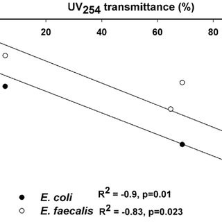 UV dose on disinfection of bacterial indicators in the