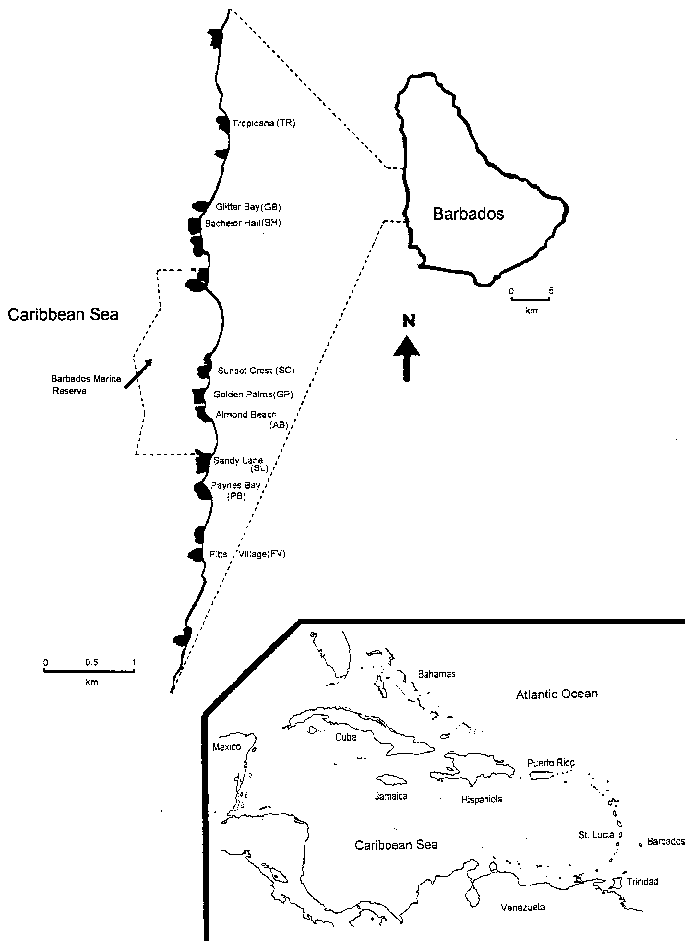 Upper right: island of Barbados; dashed lines indicate