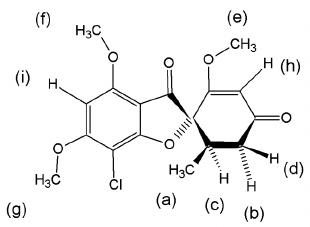 Chemical structure of griseofulvin. The letters assign the