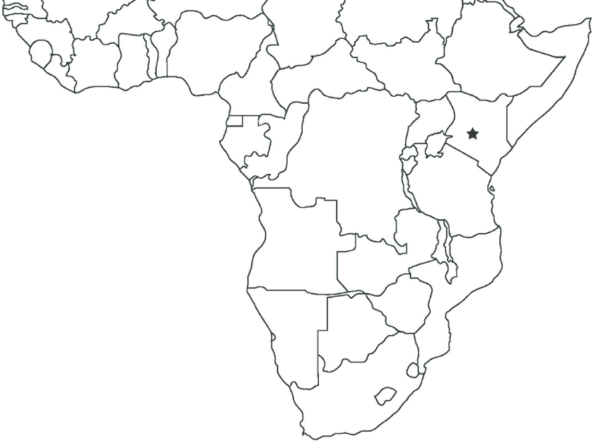 Map of sub-Saharan Africa showing the type locality of