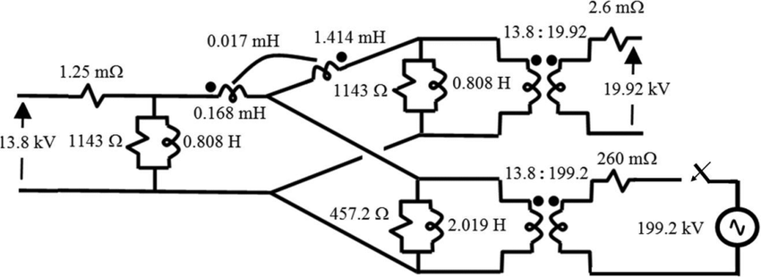 Equivalent circuit of the three-winding transformer