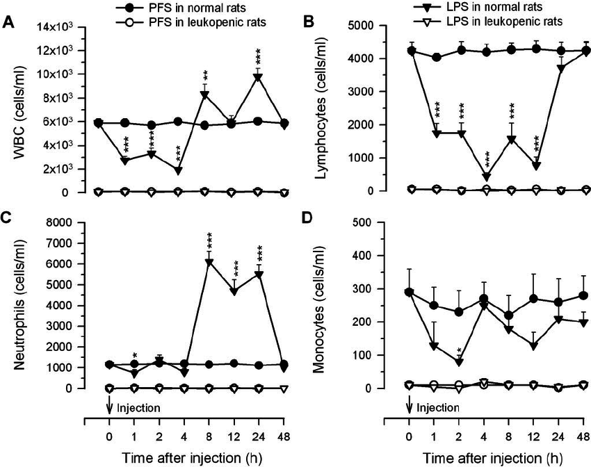 Time-dependent changes in total white blood cells and