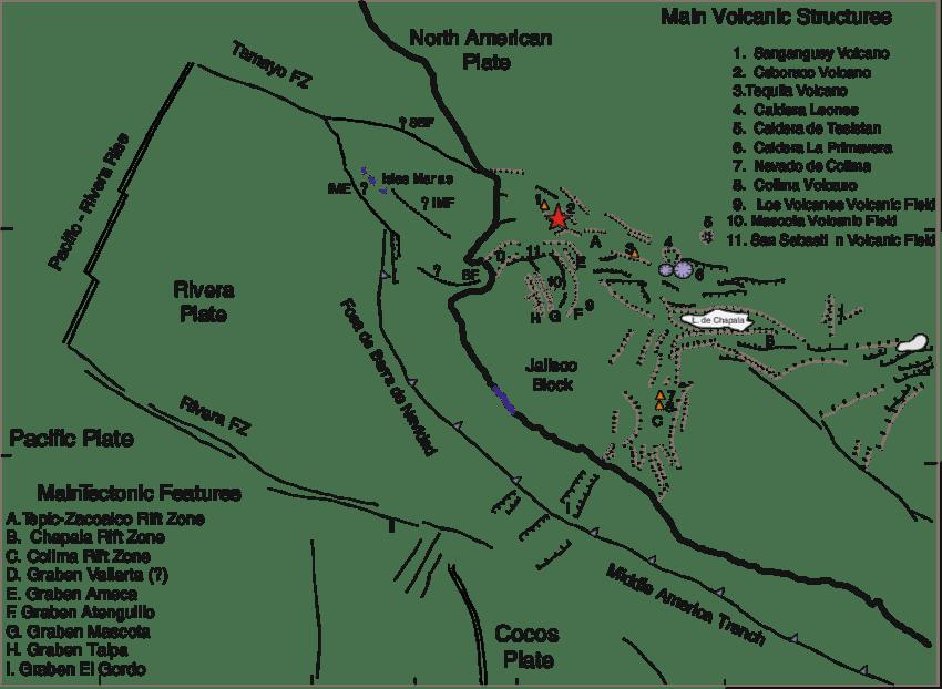 Tectonic features of the Jalisco Block region: SBF San