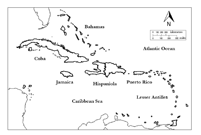 Map of the West Indies indicating major island groups