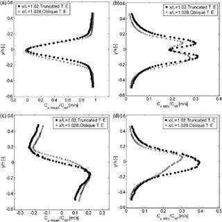 NACA 0009 hydrofoils (a) truncated trailing edge and (b