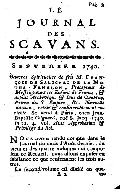 Book review from a 1740 issue of Journal des Savants