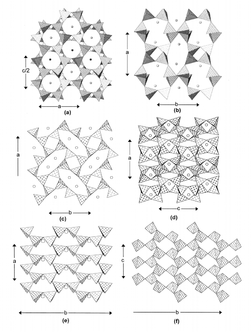 medium resolution of the crystal structures of beryllonite hurlbutite and babefphite a beryllonite projected onto
