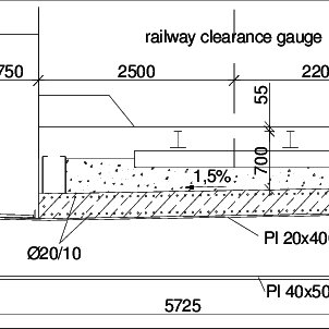 Cross section of a single track steel deck, unit: [mm