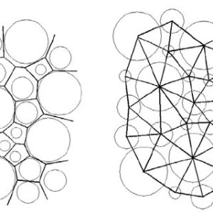 An example of a Voronoi diagram in Laguerre geometry for a