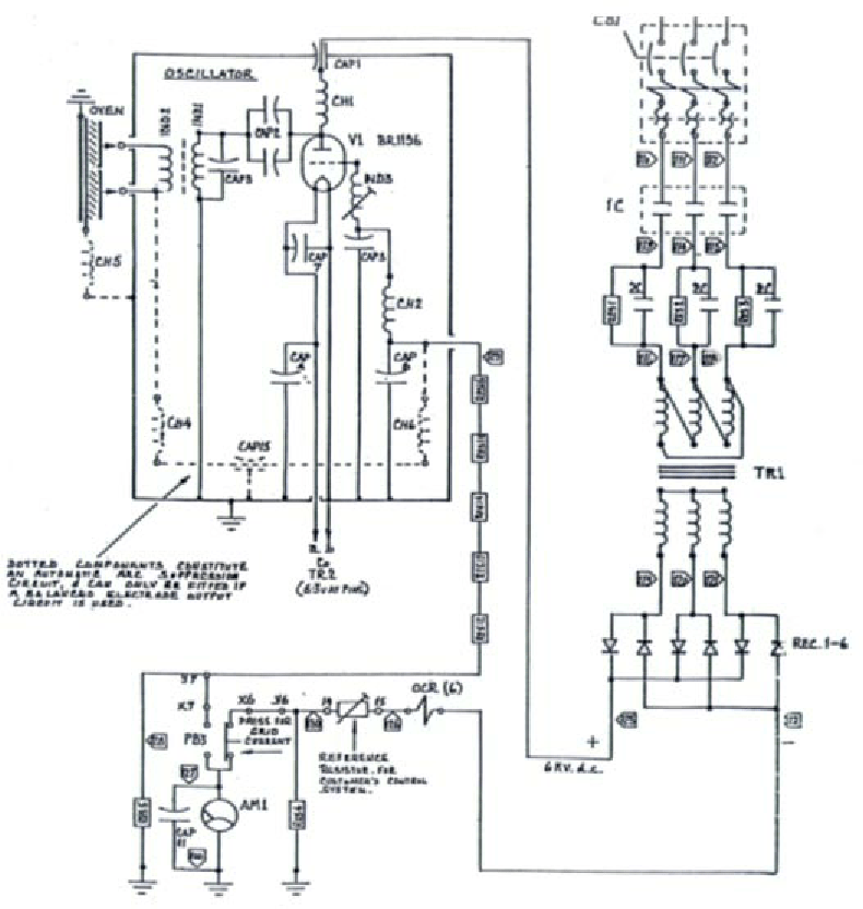 Equivalent electric circuit for the industrial RF heating