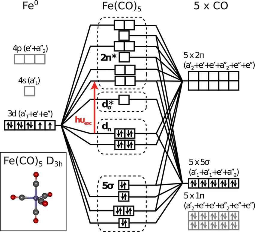 Qualitative valence molecular-orbital (MO) diagram of Fe