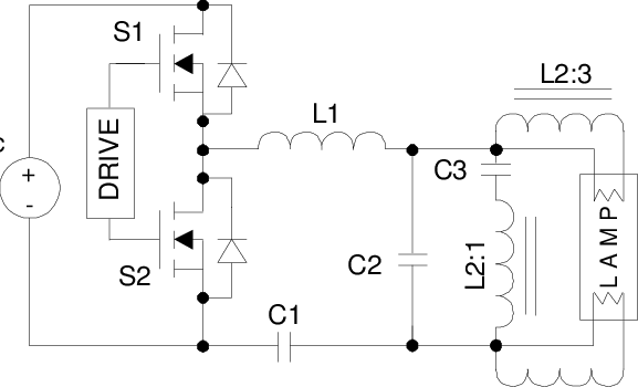 Electronic ballast with voltage source filament preheating