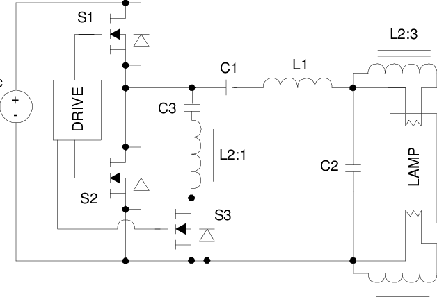 Topology of proposed ballast based on a voltage source
