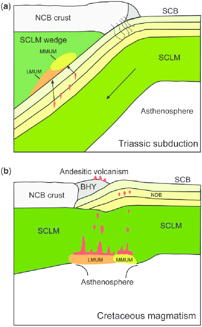 hight resolution of schematic illustrations showing slab mantle interaction in a continental subduction channel and postcollisional andesitic volcanism