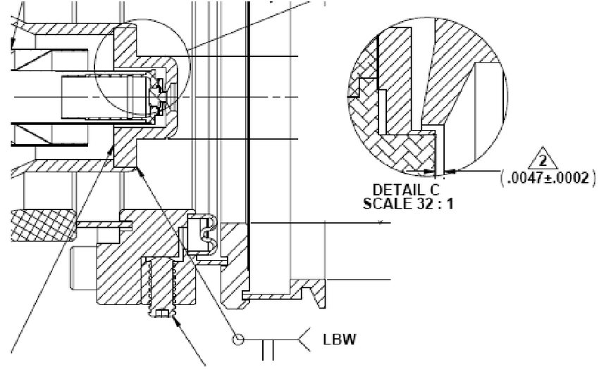 Drawing showing laser beam weld of focus electrode and