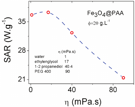 Evolution of the specific absorption rate (SAR) of Fe 3 O