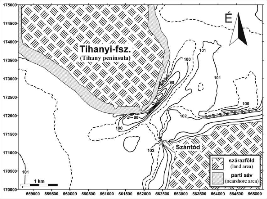 Contour map of the Tihany Strait (mBf ) based on the