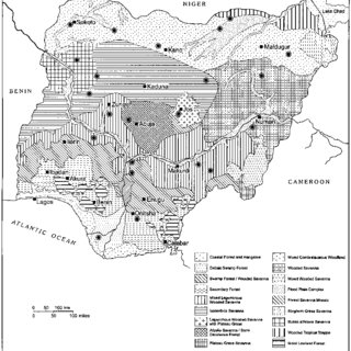 Map of Nigeria showing the ecological zones and a few of