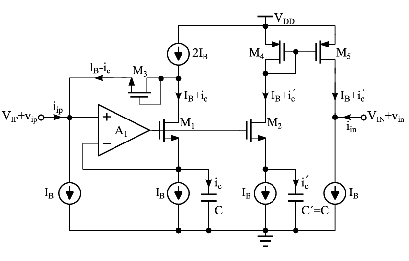 Proposed circuit for converting a grounded N-MOS capacitor