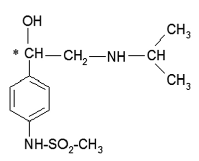 The chemical structure of sotalol. The asterix denote the