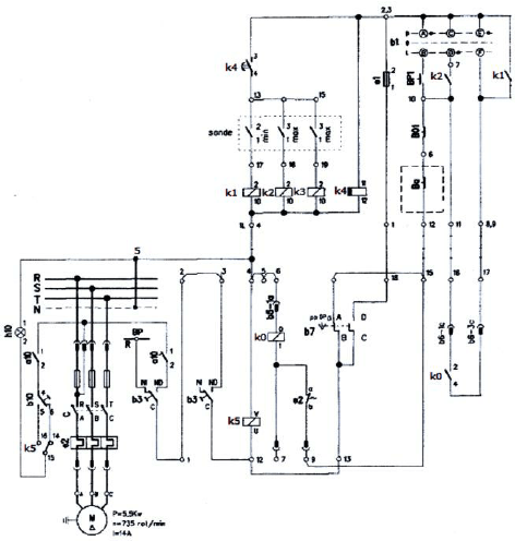 The diagram of classical control installation for a pump